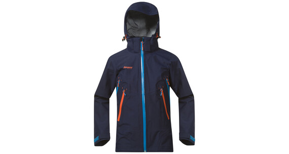 Bergans Youth Jacket Ervik Navy/Lt SeaBlue/Koi Orange